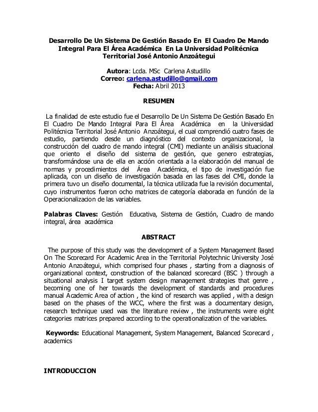 Desarrollo De Un Sistema De Gestión Basado En El Cuadro De Mando  Integral Para El Área Académica En La Universidad Polité...