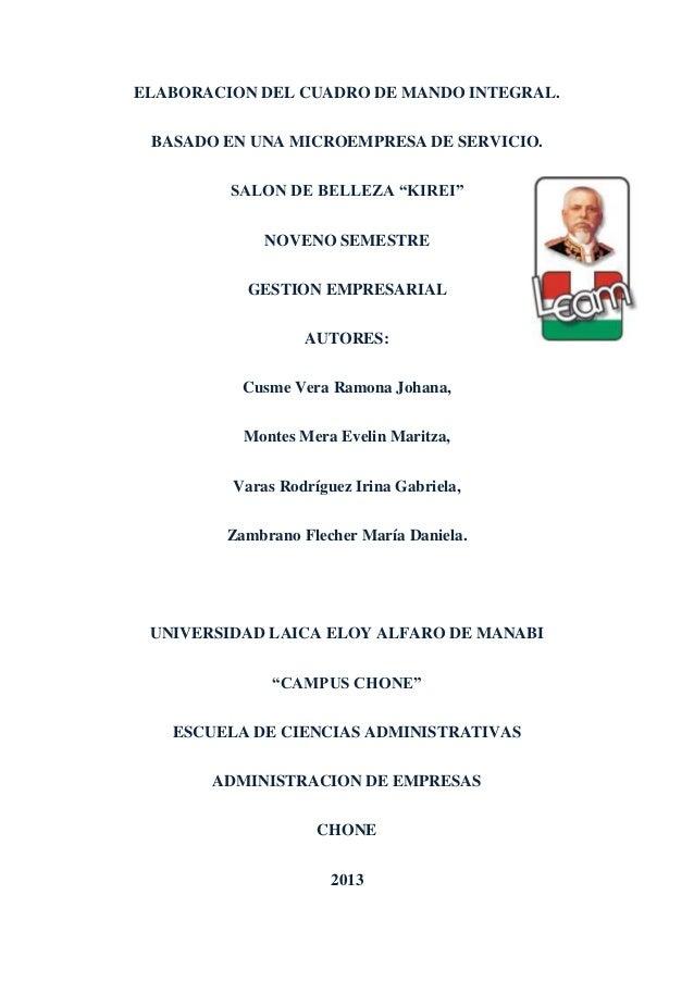"""ELABORACION DEL CUADRO DE MANDO INTEGRAL.BASADO EN UNA MICROEMPRESA DE SERVICIO.SALON DE BELLEZA """"KIREI""""NOVENO SEMESTREGES..."""