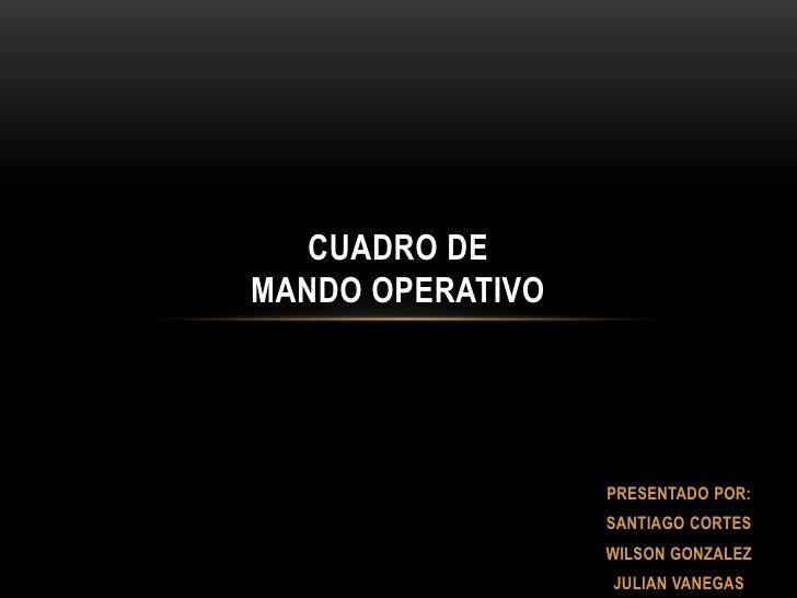 Cuadro de mando operativo<br />PRESENTADO POR:<br />SANTIAGO CORTES<br />WILSON GONZALEZ<br />JULIAN VANEGAS<br />