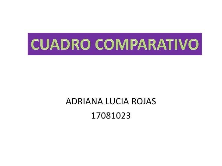 ADRIANA LUCIA ROJAS<br />17081023<br />CUADRO COMPARATIVO<br />
