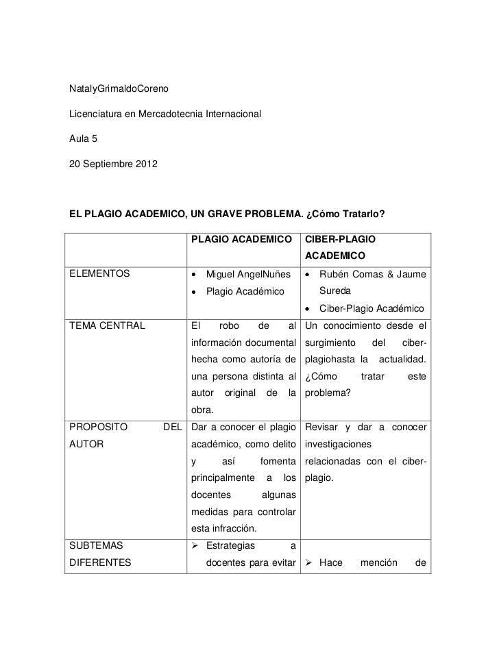 NatalyGrimaldoCorenoLicenciatura en Mercadotecnia InternacionalAula 520 Septiembre 2012EL PLAGIO ACADEMICO, UN GRAVE PROBL...