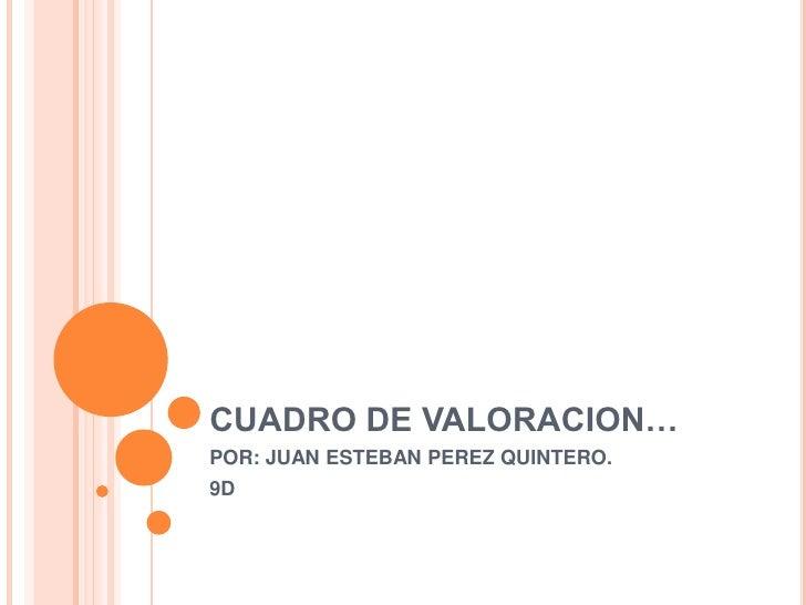 CUADRO DE VALORACION…POR: JUAN ESTEBAN PEREZ QUINTERO.9D