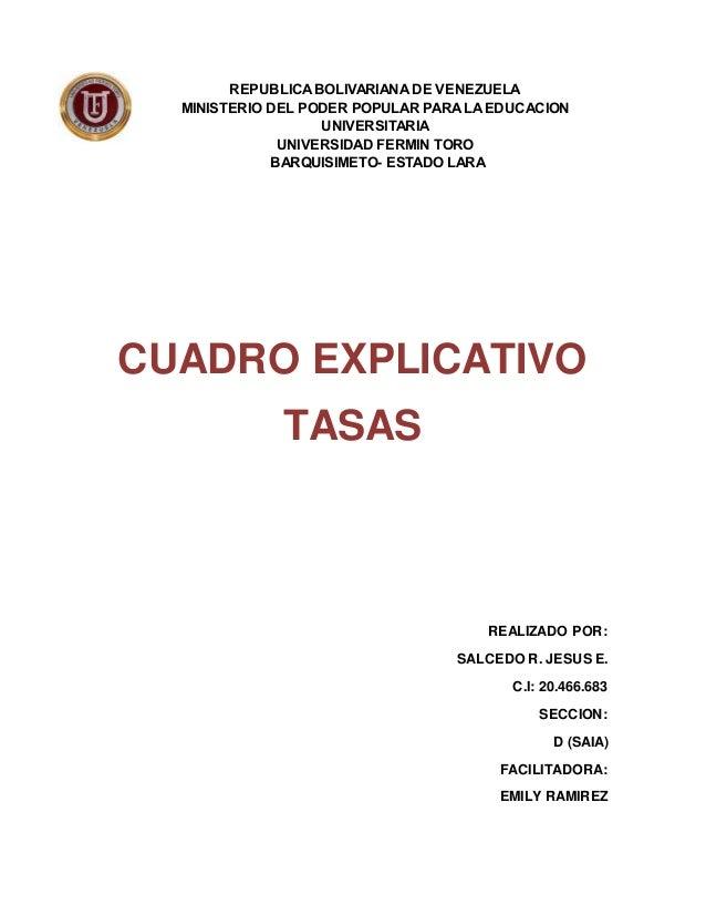 REPUBLICA BOLIVARIANA DE VENEZUELA MINISTERIO DEL PODER POPULAR PARA LA EDUCACION UNIVERSITARIA UNIVERSIDAD FERMIN TORO BA...