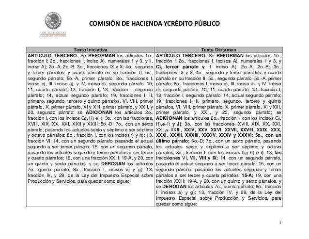 COMISIÓN DE HACIENDA YCRÉDITO PÚBLICO  Texto Iniciativa ARTÍCULO TERCERO. Se REFORMAN los artículos 1o., fracción I; 2o., ...