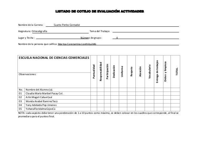 LISTADO DE COTEJO DE EVALUACIÓN ACTIVIDADES.Nombre de la Carrera: Cuarto Perito ContadorAsignatura: Ortocaligrafía Tema de...