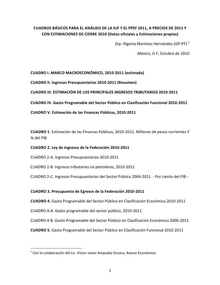 CUADROS BÁSICOS PARA EL ANÁLISIS DE LA ILIF Y EL PPEF 2011, A PRECIOS DE 2011 Y        CON ESTIMACIONES DE CIERRE 2010 (Da...