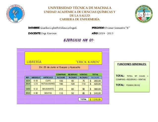 UNIVERSIDAD TÉCNICA DE MACHALA UNIDAD ACADÉMICA DE CIENCIAS QUÍMICAS Y DE LA SALUD CARRERA DE ENFERMERÍA NOMBRE: Gisella L...