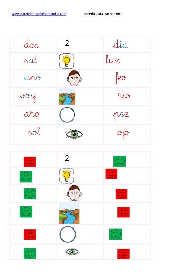 www.aprenderjugandoenfamilia.com material para uso personal dos 2 dia sal luz uno feo voy rio aro pez sol ojo 2
