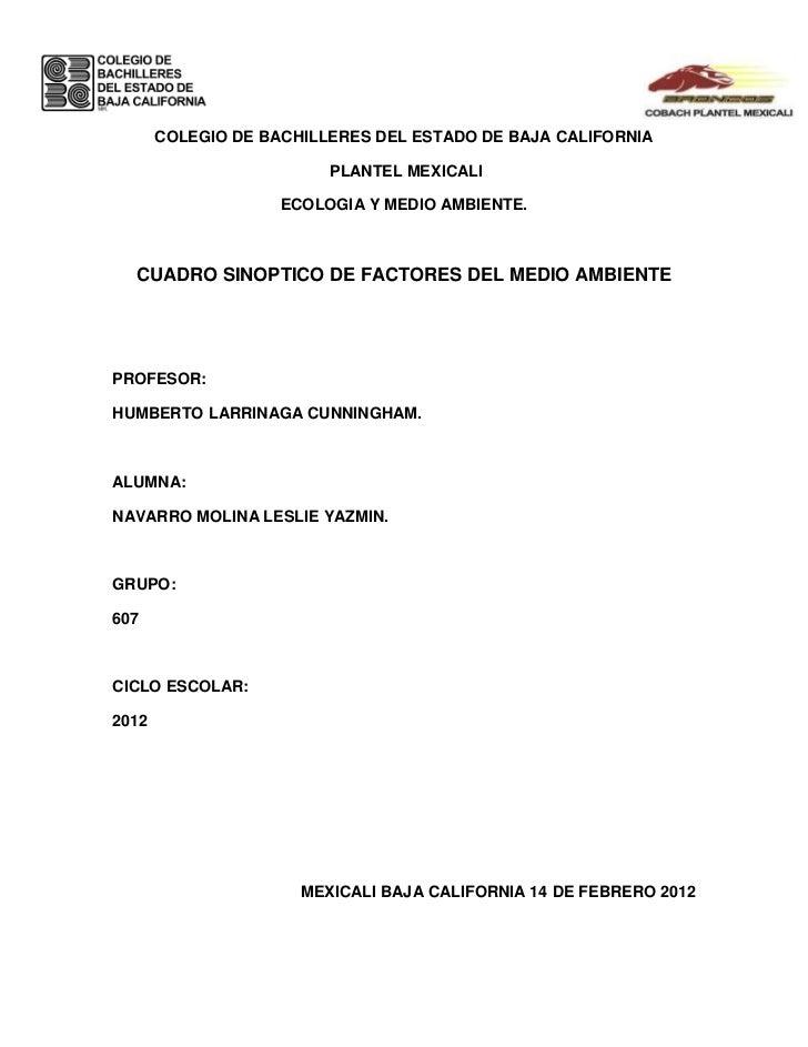 COLEGIO DE BACHILLERES DEL ESTADO DE BAJA CALIFORNIA                         PLANTEL MEXICALI                    ECOLOGIA ...