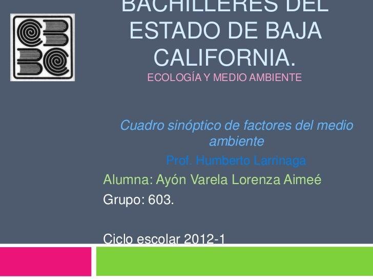 BACHILLERES DEL  ESTADO DE BAJA    CALIFORNIA.       ECOLOGÍA Y MEDIO AMBIENTE  Cuadro sinóptico de factores del medio    ...