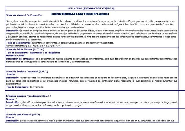 SITUACIÓN DE FORMACIÓN VIVENCIAL. Situación Vivencial De Formación: Se requiere describir los aspectos resaltantes del tal...