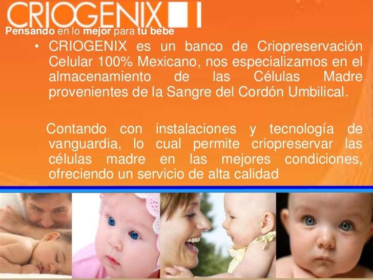 Pensandoen lo mejor para tu bebé<br />CRIOGENIX es un banco de Criopreservación Celular 100% Mexicano, nos especializamos ...
