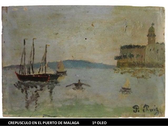 CREPUSCULO EN EL PUERTO DE MALAGA  1º OLEO
