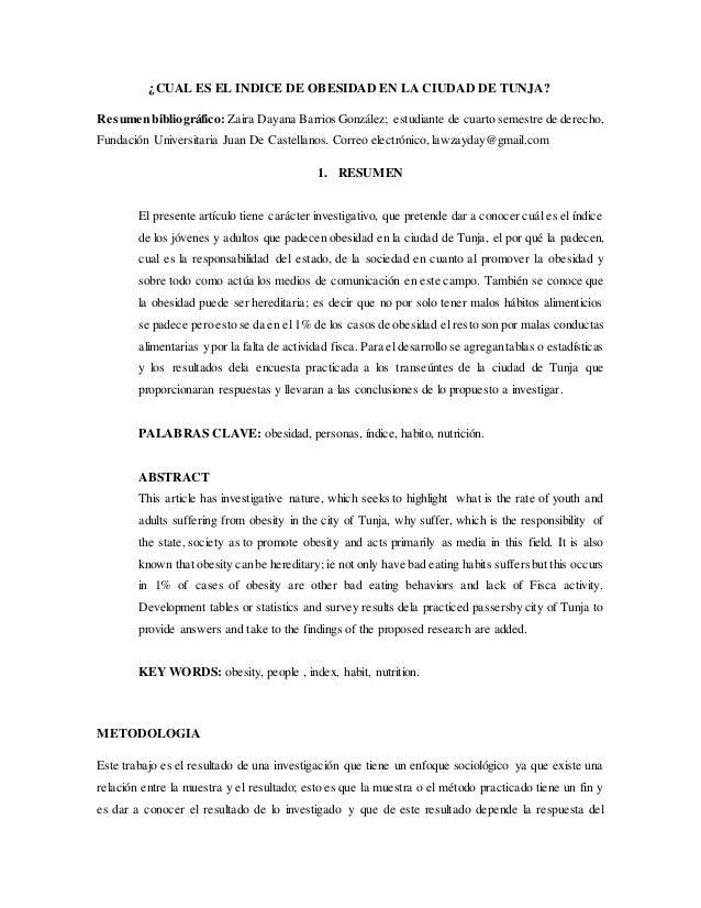 ¿CUAL ES EL INDICE DE OBESIDAD EN LA CIUDAD DE TUNJA? Resumen bibliográfico: Zaira Dayana Barrios González; estudiante de ...