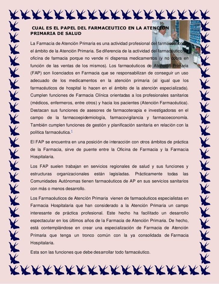 4320540-185420CUAL ES EL PAPEL DEL FARMACEUTICO EN LA ATENCION PRIMARIA DE SALUD<br />LaFarmacia de Atención Primariaes...