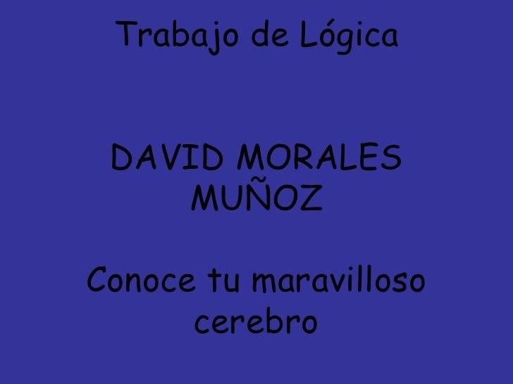 Trabajo de Lógica DAVID MORALES MUÑOZ Conoce tu maravilloso cerebro