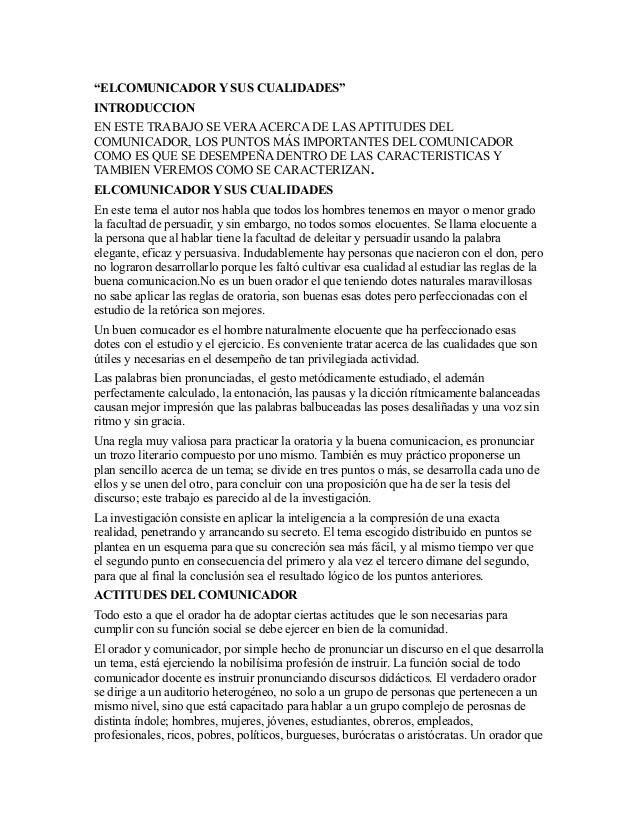 """""""ELCOMUNICADOR Y SUS CUALIDADES""""INTRODUCCIONEN ESTE TRABAJO SE VERA ACERCA DE LAS APTITUDES DELCOMUNICADOR, LOS PUNTOS MÁS..."""