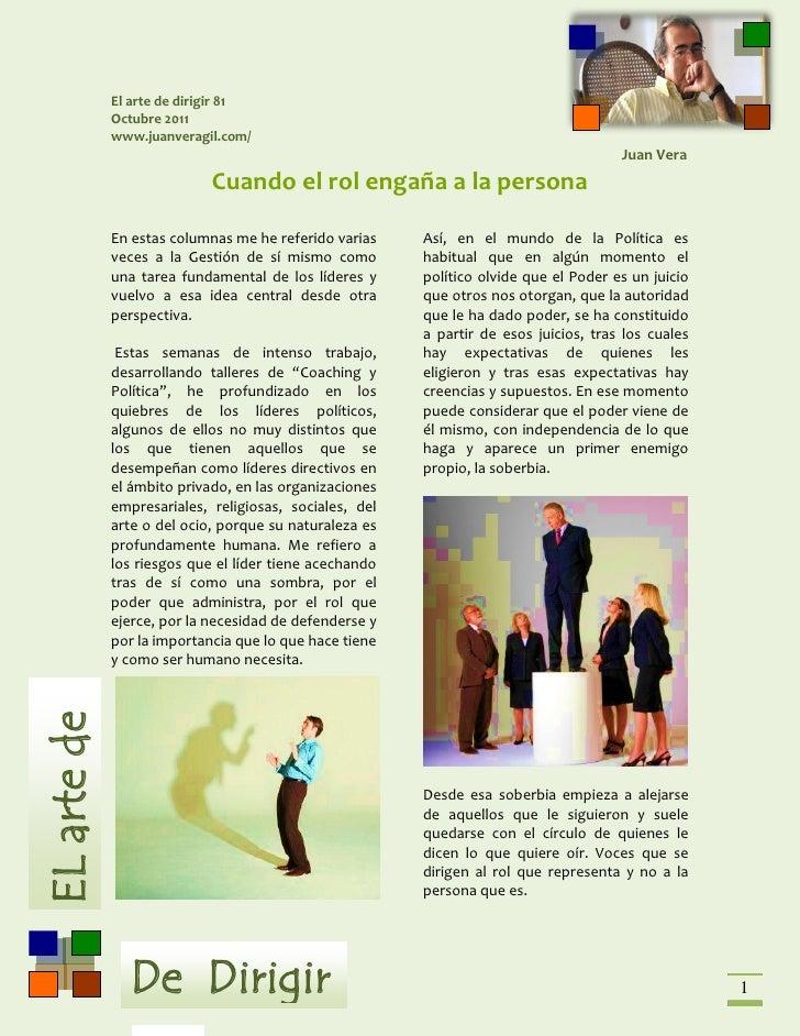 El arte de dirigir 81             Octubre 2011             www.juanveragil.com/                                           ...
