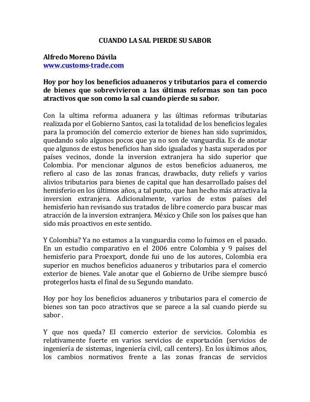 CUANDOLASALPIERDESUSABOR  AlfredoMorenoDávila www.customs-trade.com  Hoyporhoylosbeneficiosaduanerosytr...