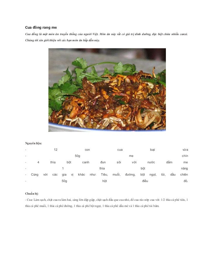 Cua đồng rang meCua đồng là một món ăn truyền thống của người Việt. Món ăn này rất có giá trị dinh dưỡng, đặc biệt chứa nh...
