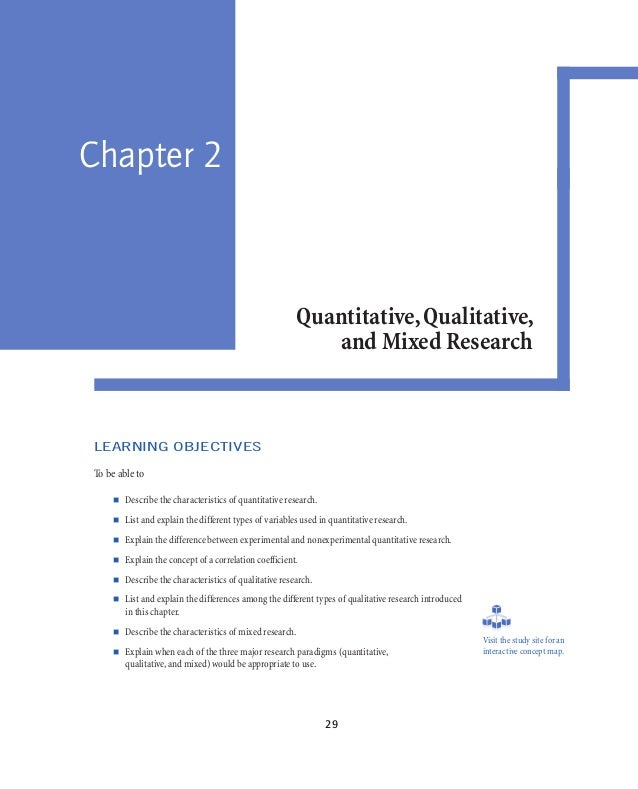 chapter 2 quantitative qualitative and mixed Covering a broad range of quantitative, qualitative, and mixed methods designs, as well as action research and program evaluation part 2 quantitative research designs chapter 6 experimental designs chapter 7 predictive designs.