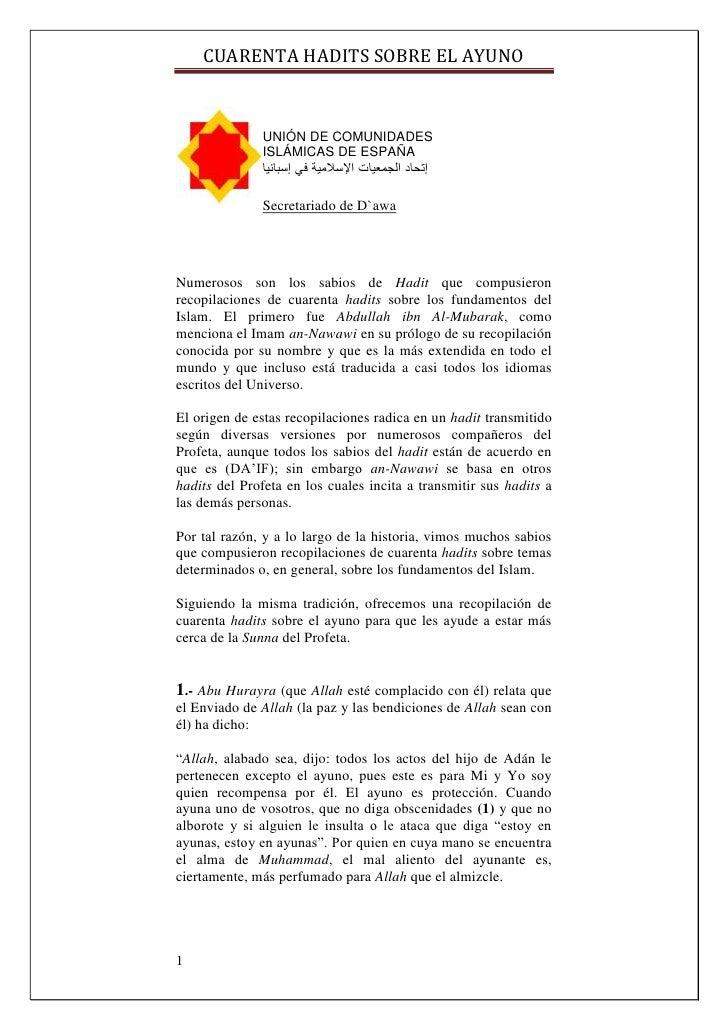 CUARENTA HADITS SOBRE EL AYUNO                  UNIÓN DE COMUNIDADES               ISLÁMICAS DE ESPAÑA               إتحا...