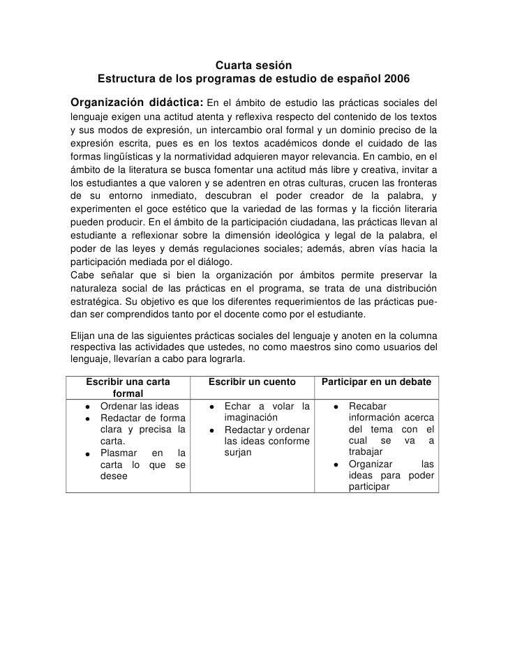 Cuarta sesión      Estructura de los programas de estudio de español 2006Organización didáctica: En el ámbito de estudio l...