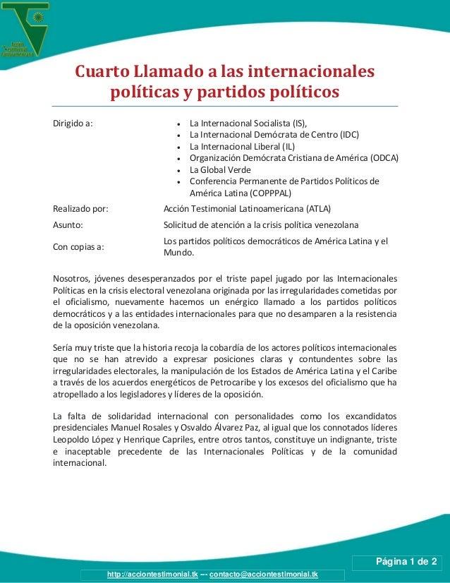 Página 1 de 2http://acciontestimonial.tk --- contacto@acciontestimonial.tkCuarto Llamado a las internacionalespolíticas y ...