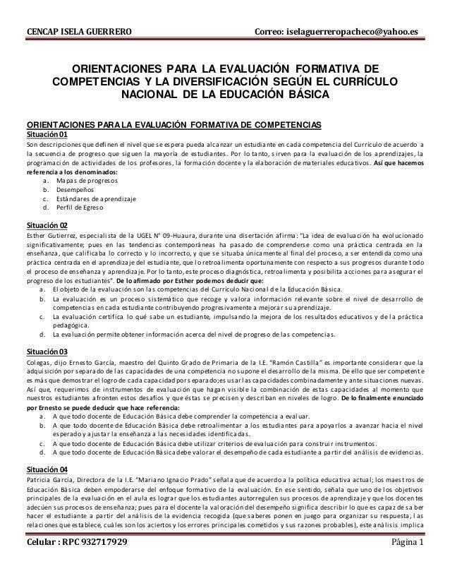 CENCAP ISELA GUERRERO Correo: iselaguerreropacheco@yahoo.es Celular : RPC 932717929 Página 1 ORIENTACIONES PARA LA EVALUAC...