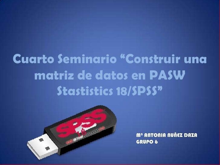 """Cuarto Seminario """"Construir una   matriz de datos en PASW       Stastistics 18/SPSS""""                   Mª ANTONIA NUÑEZ DA..."""