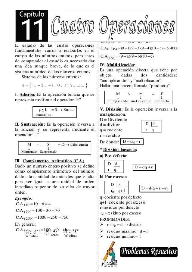 Razonamiento Matemático Elías Cotos Nolasco 119 El estudio de las cuatro operaciones fundamentales vamos a realizarlos en ...