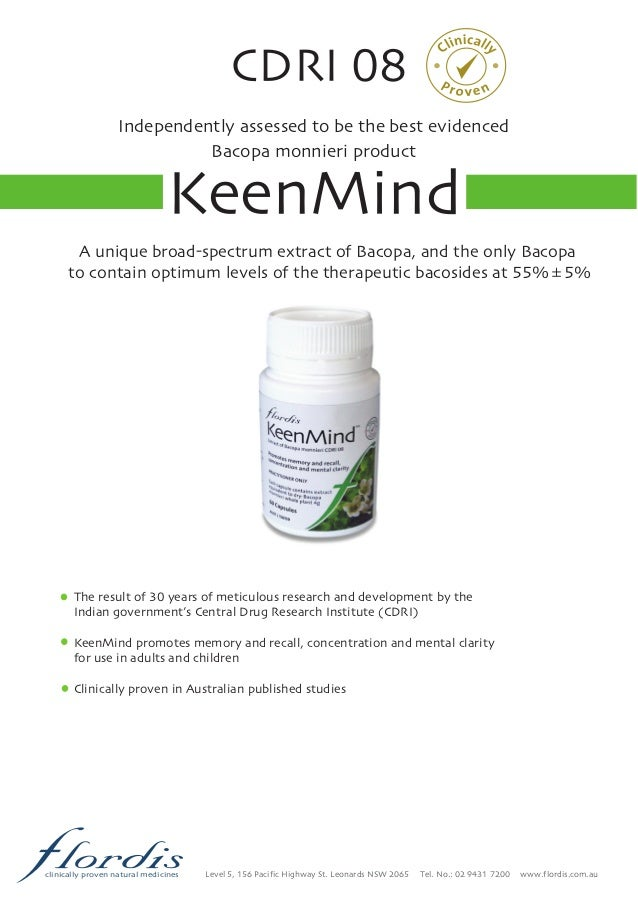 CDRI 08 Independently assessed to be the best evidenced Bacopa monnieri  product KeenMind Level 5,