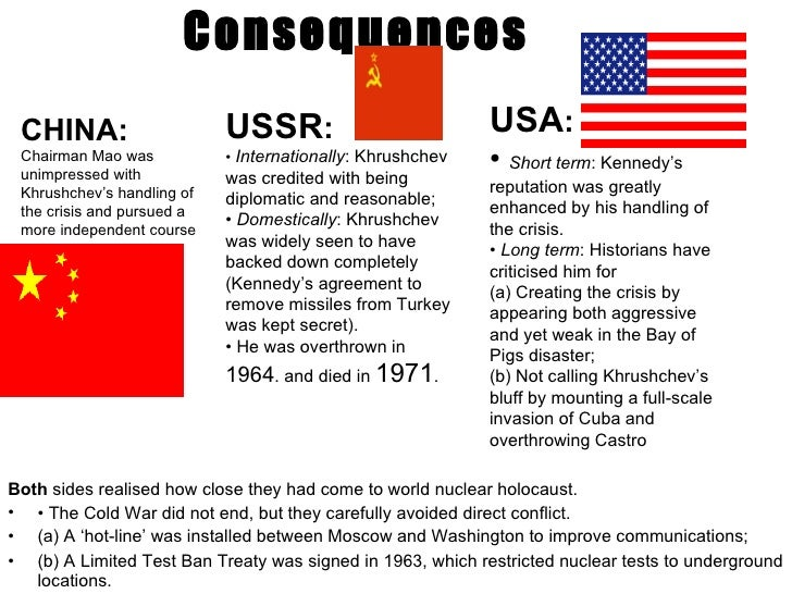 consequences of the cuban missile crisis essay Free essay: the cuban missile crisis in october 1962, the world for 13 days waited on the brink of nuclear war because of cuban missile crisis.
