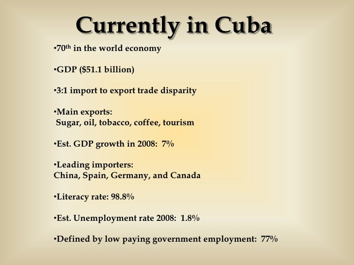 the economical and political aspects of cuba The communist party of cuba is the only one allowed to rule and is dedicated to the creation of a socialist society, but by 2010, even fidel castro publicly stated that the communist economic model no longer works for cuba.