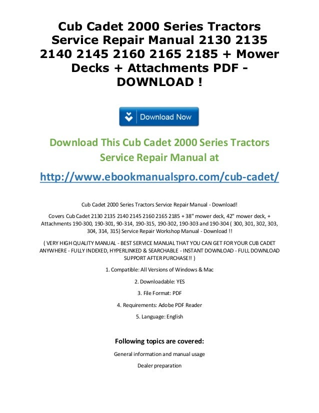 cub cadet 2000 series tractors service repair manual 2130 2135 2140 2 rh slideshare net Cub Cadet 2185 Deck Diagram Cub Cadet 2185 Deck Diagram