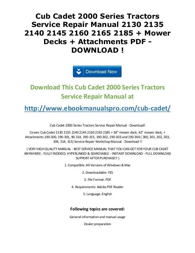 Cub Cadet 2000 Series Tractors Service Repair Manual 2130