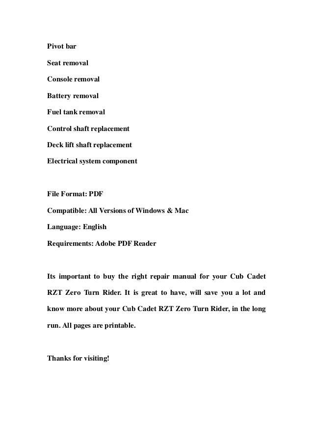 cub cadet rzt zero turn rider service repair workshop manual download rh slideshare net cub cadet rzt 42 service manual cub cadet rzt l service manual