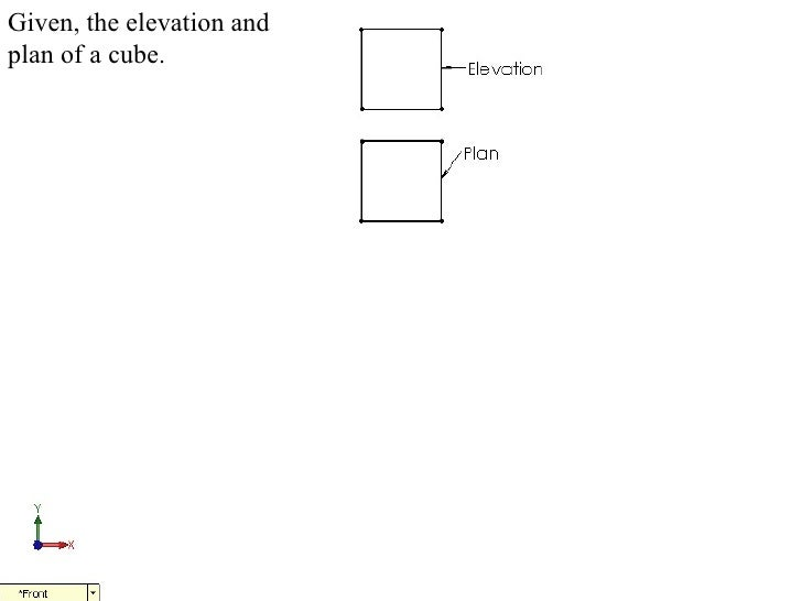 Given, the elevation andplan of a cube.