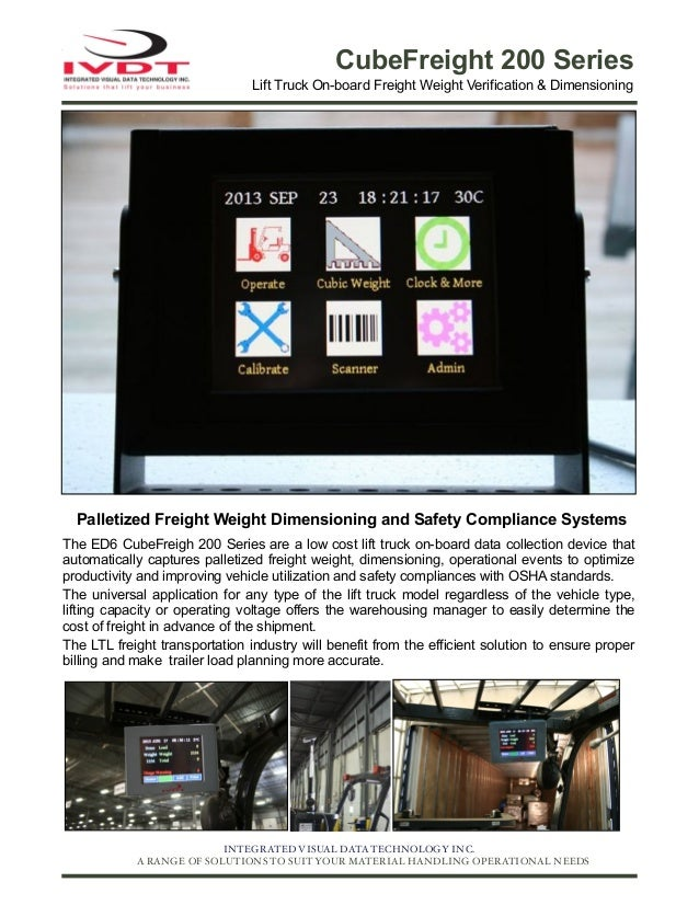 CubeFreight 200 Series Lift Truck On-board Freight Weight Verification & Dimensioning  Palletized Freight Weight Dimension...