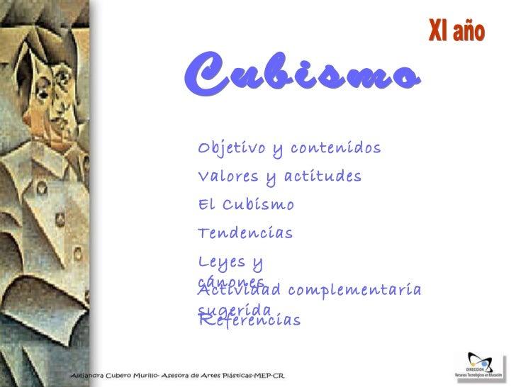 Valores y actitudes Tendencias El Cubismo Cubismo R eferencias Objetivo y contenidos Actividad complementaria sugerida  XI...