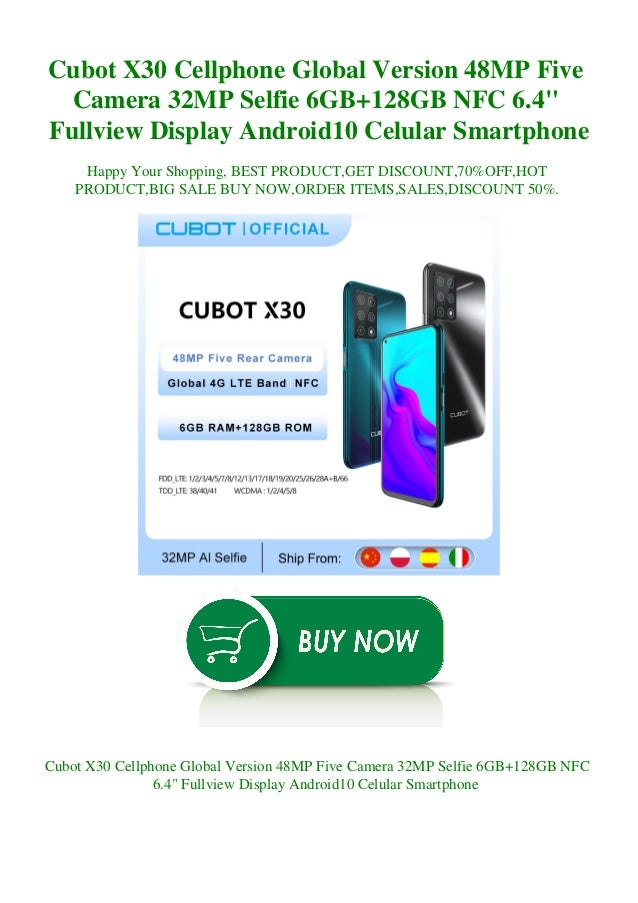 "Cubot X30 Cellphone Global Version 48MP Five Camera 32MP Selfie 6GB+128GB NFC 6.4"" Fullview Display Android10 Celular Smar..."