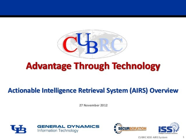 Advantage Through TechnologyActionable Intelligence Retrieval System (AIRS) Overview                       27 November 201...