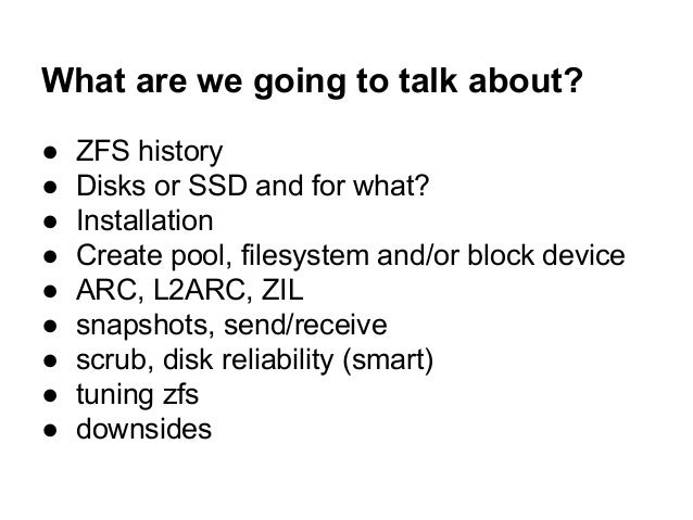 ZFS (on Linux) - use your disks in best possible ways Slide 2