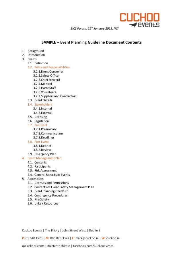 Cuckoo Events Bics   Sample Event Planning Guidelines Document