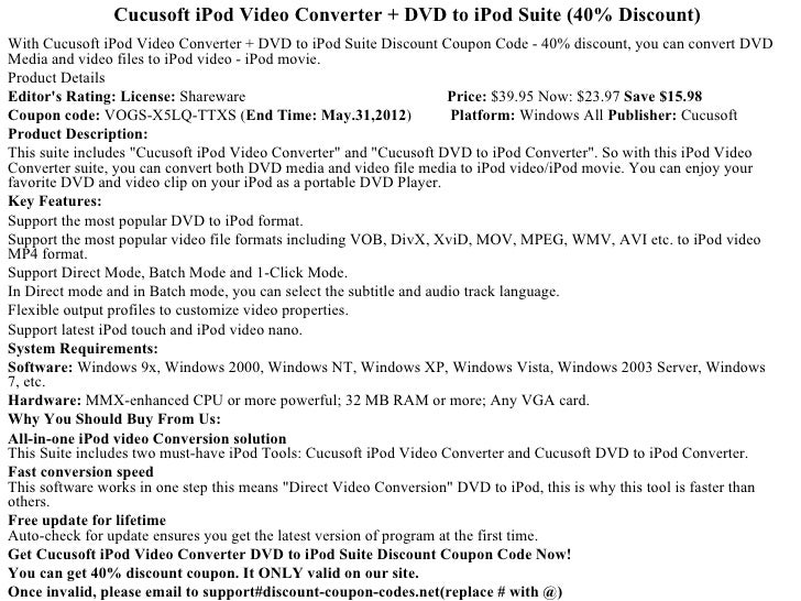 Cucusoft iPod Video Converter + DVD to iPod Suite (40% Discount)With Cucusoft iPod Video Converter + DVD to iPod Suite Dis...