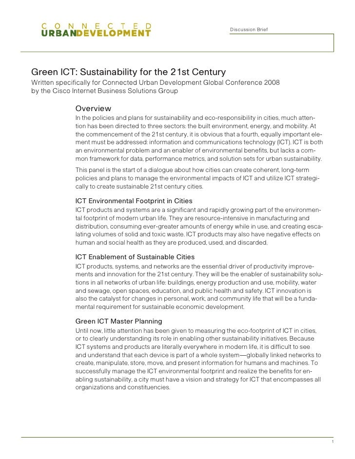 Discussion Brief     Green ICT: Sustainability for the 21st Century Written specifically for Connected Urban Development G...