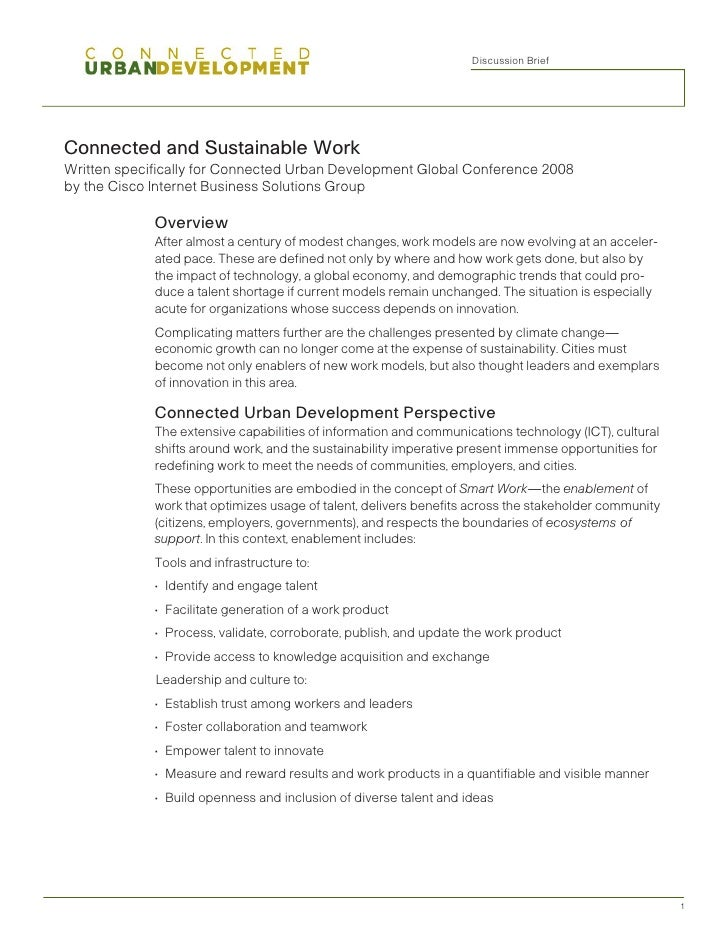 Discussion	Brief     Connected and Sustainable Work Written specifically for Connected Urban Development Global Conference...