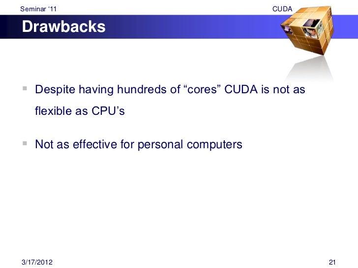 "Seminar ""11                                  CUDAFuture Scope Implementation of CUDA in several other group of    compani..."