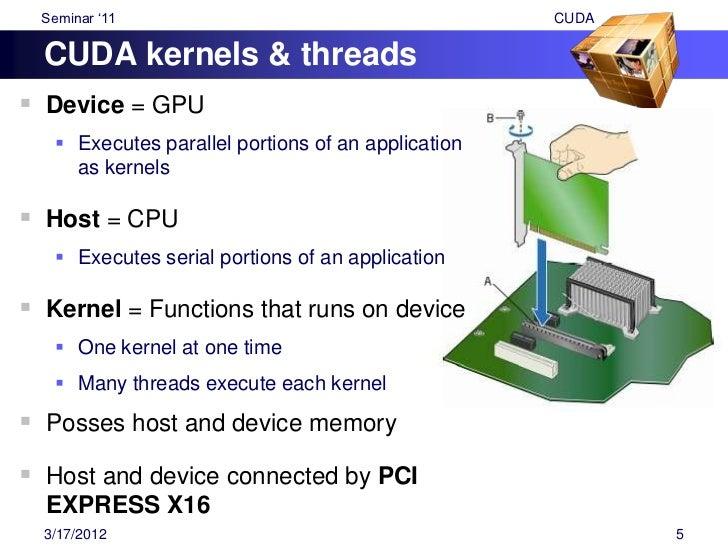 "Seminar ""11                                         CUDAArrays parallel threads A CUDA kernel is executed by an array of ..."
