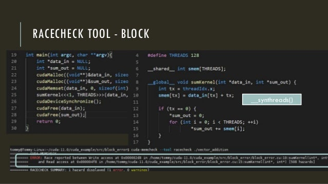 RACECHECK TOOL - BLOCK __synthreads()